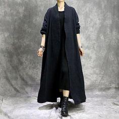 Original cotton linen button cape coat
