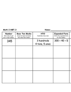 2.NBT.3 Place value, expanded form, and word form....