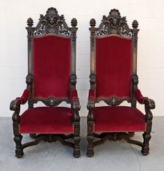 high back chair kings throne | PR. 19th C. HEAVILY CARVED HIGH BACK THRONE CHAIRS . : Lot 145