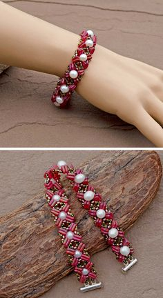 Lindy Lee Treasures - Precious Pearl and Ruby Czech Triangles Hand Woven Bracelet