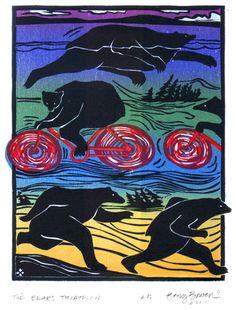 Bear Triathlon - Woodblock by Betsy Bowen