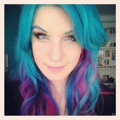 marimoon blue colorful hair