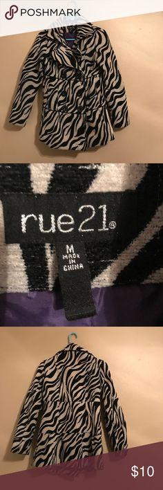 Nice zebra print pea coat Like new! Size Medium Rue 21 Jackets & Coats Pea Coats