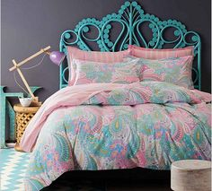 Nordic Bedding Duvet Cover Set Queen/King Beautiful Bright Pastel Paisley Pattern 4 Piece Set Bedding & Linens UK