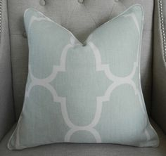 Decorative Designer Pillow Cover - 18X18 - Windsor Smith for Kravet  - Riad print  in  Seafoam - Pattern on the front