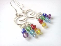 Beaded rainbow and spirals chandelier dangle by PinkCupcakeJC, $9.00