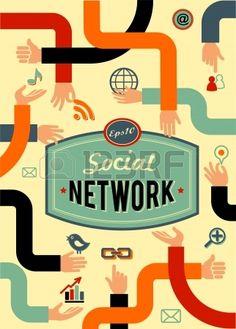redes sociales medios de comunicaci n y la comunicaci n de estilo vintage Foto de archivo