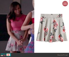 Santana's pink cutout top and grey floral skirt on Glee.  Outfit Details: https://wornontv.net/44037/ #Glee