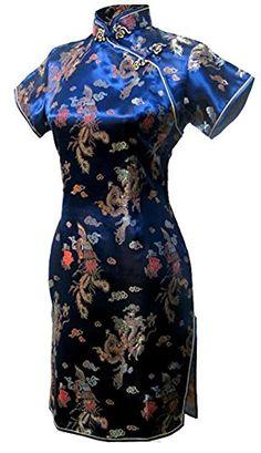 9543dd4f7fb7b 7Fairy Womens Vtg Navy Blue Dragon Mini Chinese Prom Dress Cheongsam Size 4  US **