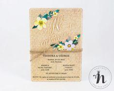 """Invitatii nunta rustice, cu flori – """"KATHERINA"""" Aradia, Wedding Invitations, Wedding Invitation Cards, Wedding Invitation, Wedding Announcements, Wedding Invitation Design"""