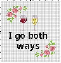 I go both ways   Funny Wine Cross Stitch by SnarkyArtCompany