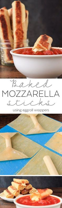 Eggroll Wrapper Recipes Baked - Mozzarella Sticks Baked String Cheese - Baked Mozzarella Sticks Recipe - Appetizers for Party Easy - Appetizers Easy - Appetizers Recipe - Egg Roll Wrapper Recipes