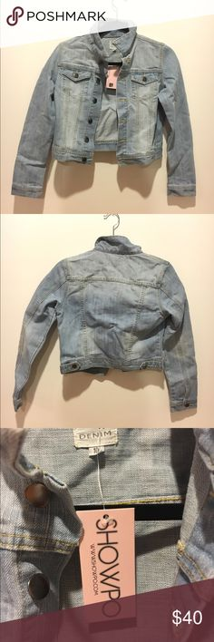 Showpo Fashion Killa Jacket In Light Wash Denim Really cute light washed denim jacket that is perfect for summer weather! Throw it over over a nice sun dress or a cute crop top with dark jeans. NWT and in perfect condition! // Size 10 ~ Medium, runs small // Showpo Jackets & Coats Jean Jackets