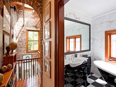This bathroom and its departure from the style of the hall is wonderful. #interior #architecture #bathroom