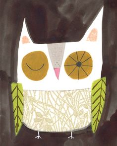 "8"" x 10"" OWL PRINT from my original illustration.sarah dyer"
