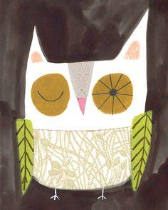 "8"" x 10"" OWL PRINT from my original illustration.sarah dyer"
