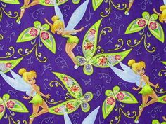 disney fabrics by the yard   ... Disney Fairy Tinkerbell Tinker Tink Butterfly Purple Cotton fabric by