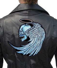 Blue Angel Skull Halo Wings Lady Rider Embroidered Biker Patch – Quality Biker Patches Angel skull patch with wings looks great on women's leather jackets.