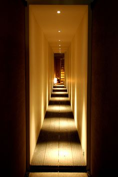 This hallway is an example of how lighting can really make an impact on the spacial quality of a room. Lighting plays a large role in the private entrance of Stacking Green