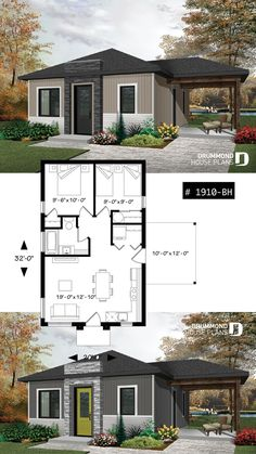 Small affordable modern 2 bedroom home plan open kitchen and family room side deck CABIN TINYHOM&; Small affordable modern 2 bedroom home plan open kitchen and family room side deck CABIN TINYHOM&; Little House Plans, Small House Floor Plans, Home Design Floor Plans, Dream House Plans, Small House Plans Under 1000 Sq Ft, Small Home Plans, Low Cost House Plans, Small Cottage Plans, Small Kitchen Plans