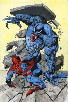 #Spiderman #Fan #Art. (Spiderman Vs Venom) By: Simon Bisley. (THE * 5 * STÅR * ÅWARD * OF: * AW YEAH, IT'S MAJOR ÅWESOMENESS!!!™)[THANK Ü 4 PINNING!!!<·><]<©>ÅÅÅ+(OB4E)