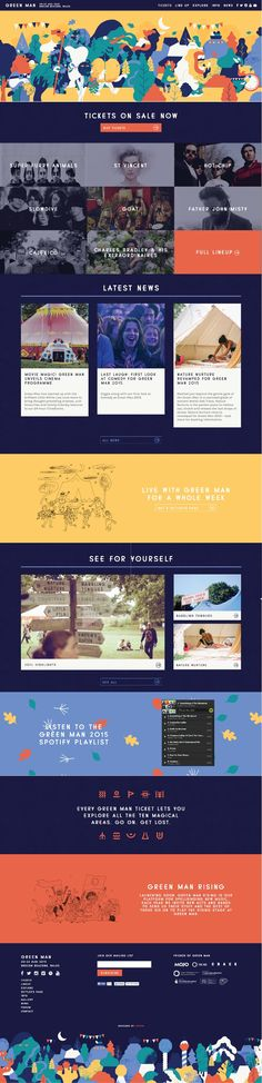 Green Man Festival. Music made into flat colorful illustrations. #webdesign #design