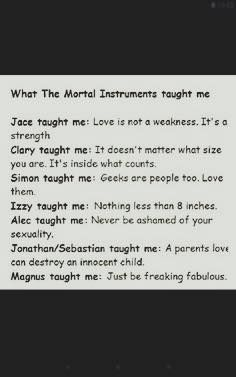 """This kinda annoys me,, Isabell and Magnus has taught me so much more than """"nothing less than 8 inches"""" and """"be fabulous"""".  They have taught me to be comfortable in my own skin, they have taught me that love knows no boundaries, to not be ashamed of my sexuality, to believe in my abilities, that it's okay to feel insecure, to fight for those I love, to be free spirited, to not judge a book by its cover. Don't get me wrong I love that the other characters are displayed with meaningful…"""