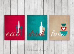 Styling Kitchen Wall Art Decor; Modern Kitchen Eat Drink Love Art Prints. Beautiful fresh modern colors: Shades of Shades of Teal, Red, Tan & White. ** And the best part is that Colors are fully customizable too. Comes in Your choice of several size options. Set of (3) Dimensions: (You Choose Sizes - Each print) 4 x 6, 5 x 7 OR 8 x 10 .......COMES UNFRAMED & ARE NOT CANVASES....... (Prints Will Require Framing)  : SEE THEM DISPLAYED HORIZONTALLY (Landscape) HERE…