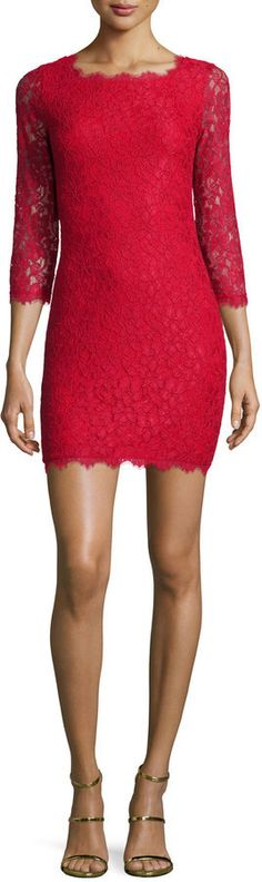 $348, Diane von Furstenberg Zarita Lace Sheath Dress Red. Sold by Neiman Marcus. Click for more info: https://lookastic.com/women/shop_items/366935/redirect
