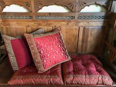 Hand stitched Indian sari pillow covers framed with an ornate embroidered trim. Indian Fabric, Silk Fabric, Toss Pillows, Bed Pillows, Indian Pillows, Cushion Fabric, Floor Cushions, Decorative Pillow Covers, Floor Chair