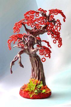 красное дерево из бисера своими руками