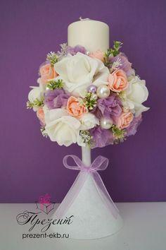 Подсвечник. Свадебная свеча. Сиреневая свадьба. Сиренево-розовая свадьба. Свечи.
