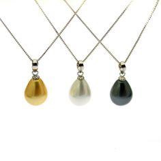 These large teardrop 'South Sea' Shell Pearls are mounted on a sterling silver pendant, with a slim sterling silver necklacechain. Gift Boxed. Free UK Shipping Pearl Pendant Necklace, Silver Chain Necklace, Pearl Jewelry, Sterling Silver Pendants, Sterling Silver Necklaces, Jewellery Boxes, Silver Pearls, Free Uk, Shell
