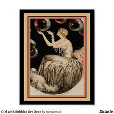 "Shop ""Bubbles"" by Louis Icart 13 x 19 Art Deco Poster created by ritzavenue. Bubble Dog, Art Deco Pictures, Apartment Wall Art, Art Deco Posters, Custom Posters, Artwork Design, Custom Framing, Cool Art, Bubbles"