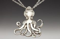 Silver Spoon Jewelry: Vintage Spoon and Fork Jewelry: Octopus Spoon Necklace Silver Spoon Jewelry, Fork Jewelry, Silver Spoons, Metal Jewelry, Octopus Jewelry, Silver Plate, Silver Pendants, Jewlery, Bullet Jewelry