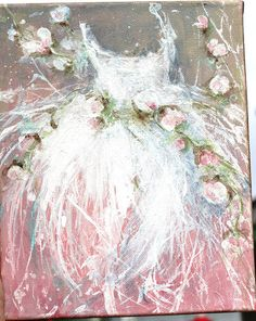 I just LOVE this artists work!!! original tutu roses ballerina ballet dress painting  by fadedwest, $65.00