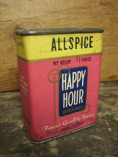 Old Vintage 'Happy Hour' Allspice Spice Tin – Paper Label Advertising #HannahsHouseAntiques #Advertising http://www.rubylane.com/item/497177-9094/Vintage-x91Happy-Hourx92-Allspice-Spice-Tin