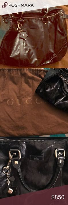 Gucci black coated canvas top handle bag Black Fabric X Coated Canvas - Baguette Measurements: 12.60 x 6.30 x 8.27 with key chain and original dust bag Gucci Bags Totes