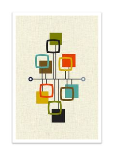 VIEW - Mid Century Modern Danish Modern Abstract Eames Curtis Jere Print                                                                                                                                                                                 More