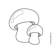 Mushrooms vegetables coloring pages for kids, printable free