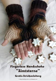 """Fingerlose Handschuhe """"Zimtsterne"""" - Gratis-Strickanleitung"""