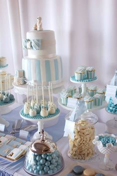 Baby boy baptism cake christening dessert tables Ideas for 2019 Christening Dessert Table, Christening Party, Baptism Party, Baby Boy Christening Decorations, Baptism Ideas, Baptism Themes, Deco Baby Shower, Shower Party, Baby Boy Shower
