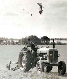 Test pilot George Aird ejects from his plane after he loses control.