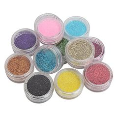 12pcs Mixed Color Glitter Shiny Dust Powder Set Nail Art Tips Decoration Craft DIY ** Find out more about the great product at the image link.(It is Amazon affiliate link) #like