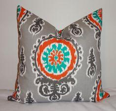 OUTDOOR Pillow Suzani Teal Orange Grey Deck Patio Pillow Cover 18x18 via Etsy