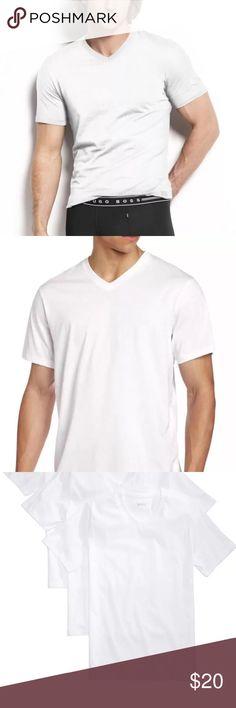 NWOT Mens Hugo Boss 100% Cotton V Neck Shirt L NWOT Mens Hugo Boss 100% Cotton V Neck Shirt, White, Size L Hugo Boss Shirts