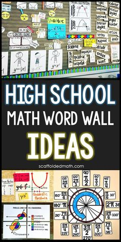 Ideas and inspiration for creating inspiring math word walls in your high school math classroom. Includes links to math Middle School Literacy, High School Classroom, Math School, Math Bulletin Boards, Classroom Board, Math Classroom Decorations, Classroom Ideas, Maths Display, Math Word Walls