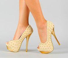 Golden Stud Heels