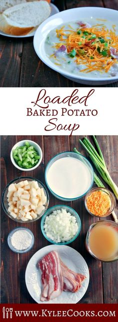 Chunky Loaded Baked Potato Soup This delicious and creamy potato soup with bacon is like comfort in a bowl. A recipe that is easily doubled or tripled to feed a crowd. It also freezes well!