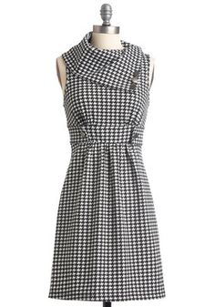 Streetcar Tour Dress in Houndstooth. Sometimes a dress is so magical, it makes you long for somewhere special and new to wear it.  #modcloth